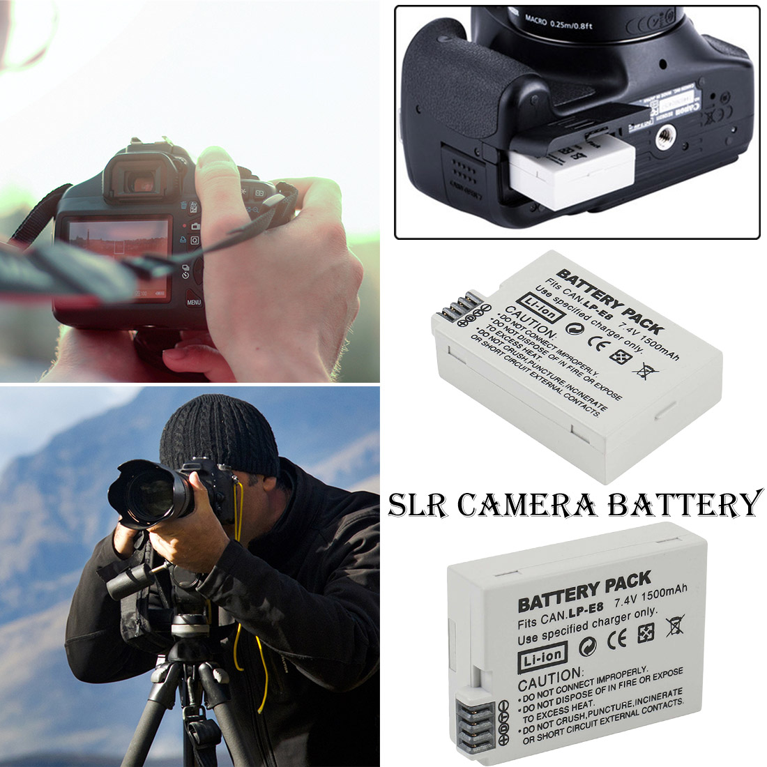 1Pcs 7.4V 1500mah LP-E8 LP E8 LPE8 Digital Camera <font><b>Battery</b></font> For <font><b>Canon</b></font> EOS 600D 650D 550D <font><b>700D</b></font> T4i T5i for Rebel T2i DSLR Camera image