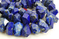 Natural Lapis Lazuli Faceted Nugget Beads Blue Beads Middle Drilled Loose Beads Strand 15.5inch strand