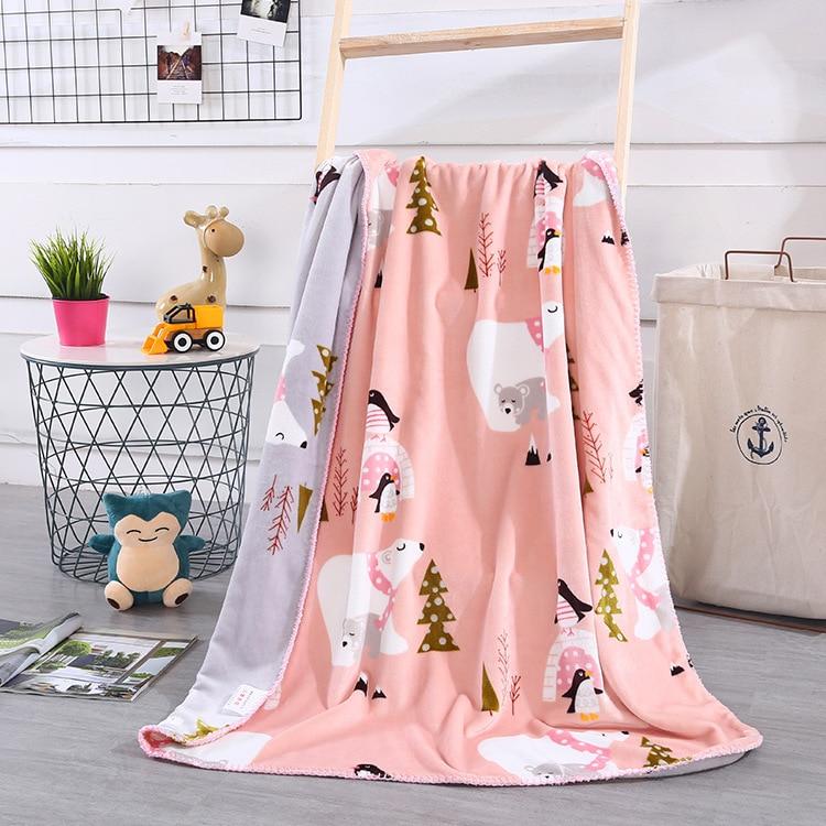 Flamingo Bear Hedgehog Coral Fleece Baby Blanket Newborn Super Soft Cartoon Throw Blankets For Beds Kids Baby Plaids Bedspread