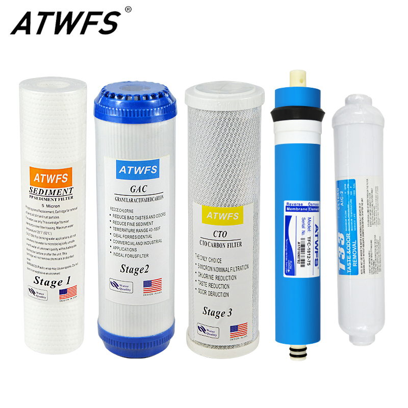 ATWFS 5 Stage Water Filter System 75gpd Reverse Osmosis ro Membrane 10 Inch Carbon Micron Aqua Filter Cartridge household water filter tap connector adaptor push fit 3 4 inch bsp to 1 4 inch reverse osmosis ro white watering fitting pipe
