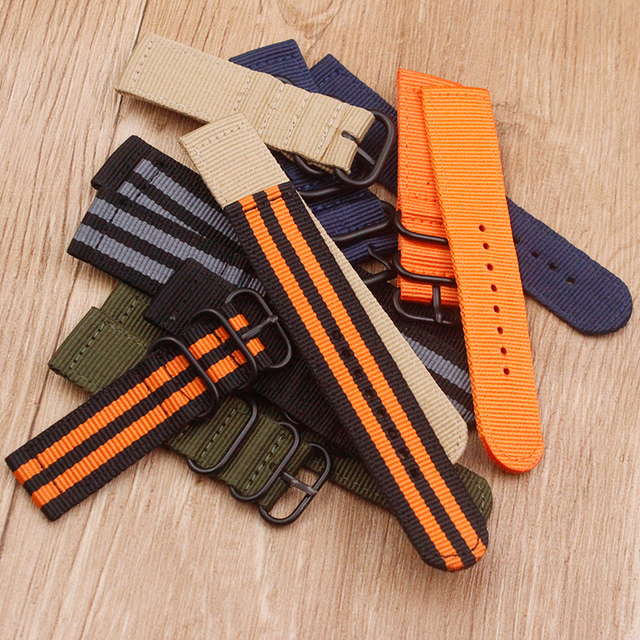 Watch accessories Nylon watch belt NATO thickening soft Waterproof and sweat-proof not stab hands 24 MM Men Women's watch belt 3