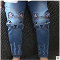 Varejo 2016 Novo de Alta Qualidade Teste Padrão do Gato Dos Desenhos Animados Crianças Calças de Brim moda Bebê Jeans Menina Bonito Crianças Calças Casual Meninas calças de Brim W6