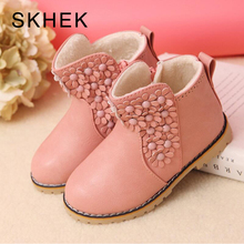 SKHEK Winter Kids Plush Snow Boots Children Girls Fashion Antislip High Thick Waterproof Shoes White Black Red Child