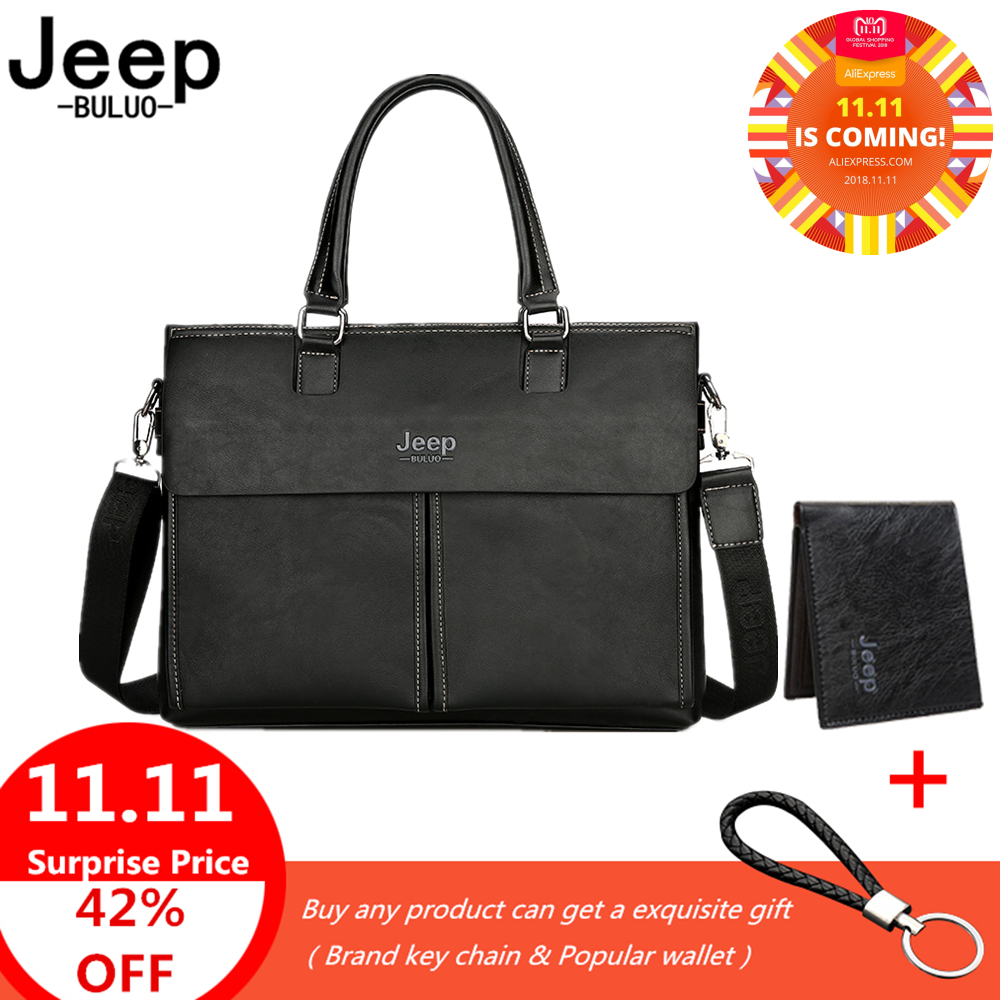 Jeep Brand Business Cow Split Leather Handbag For 14 inch Laptop bags Men Briefcases Man Travel Briefcase Tote Bag A4 Files