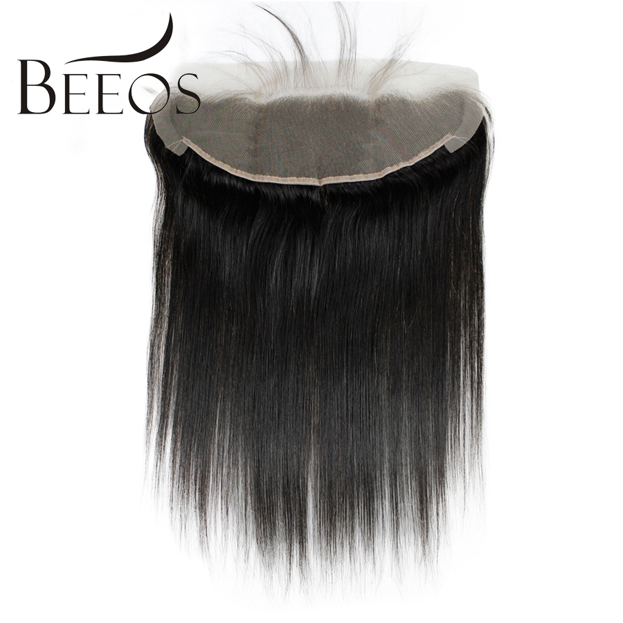 BEEOS Hair Straight Pre Plucked 13*4 Lace Frontal Closure Peruvian Remy Human Hair Closure Natural Black Color 8-20