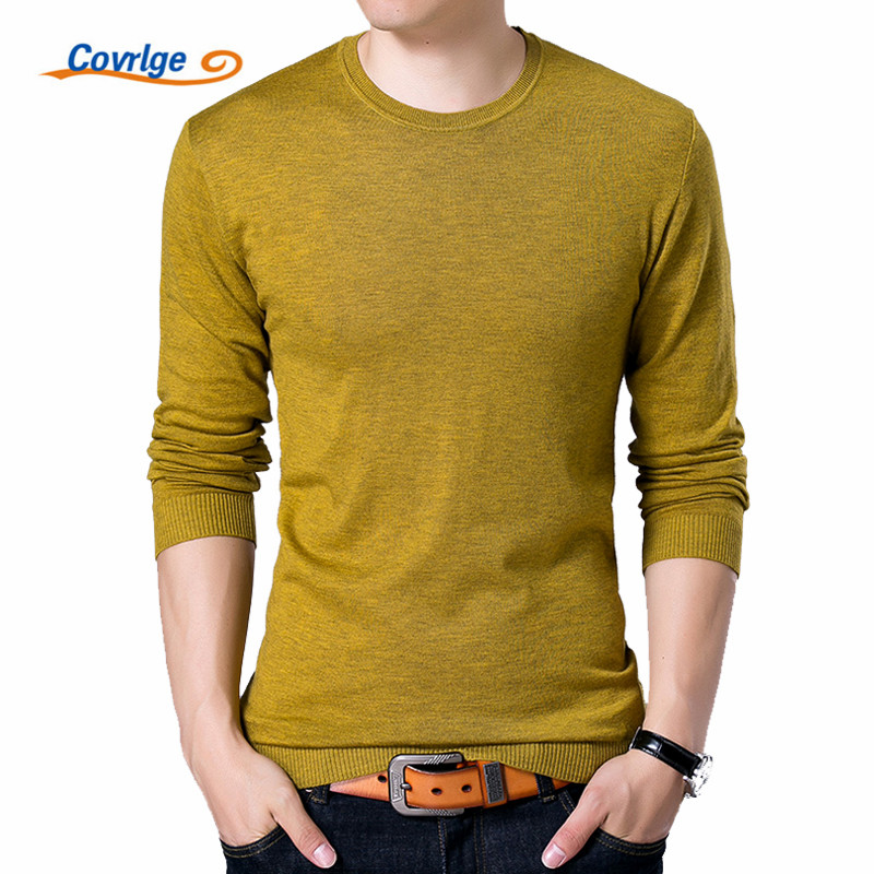 Covrlge Fashion Solid Men's Sweater 2019 Autumn New O-neck Black Sweater Mens Jumpers Male Pollover Knitted Polo Shirt MZL001