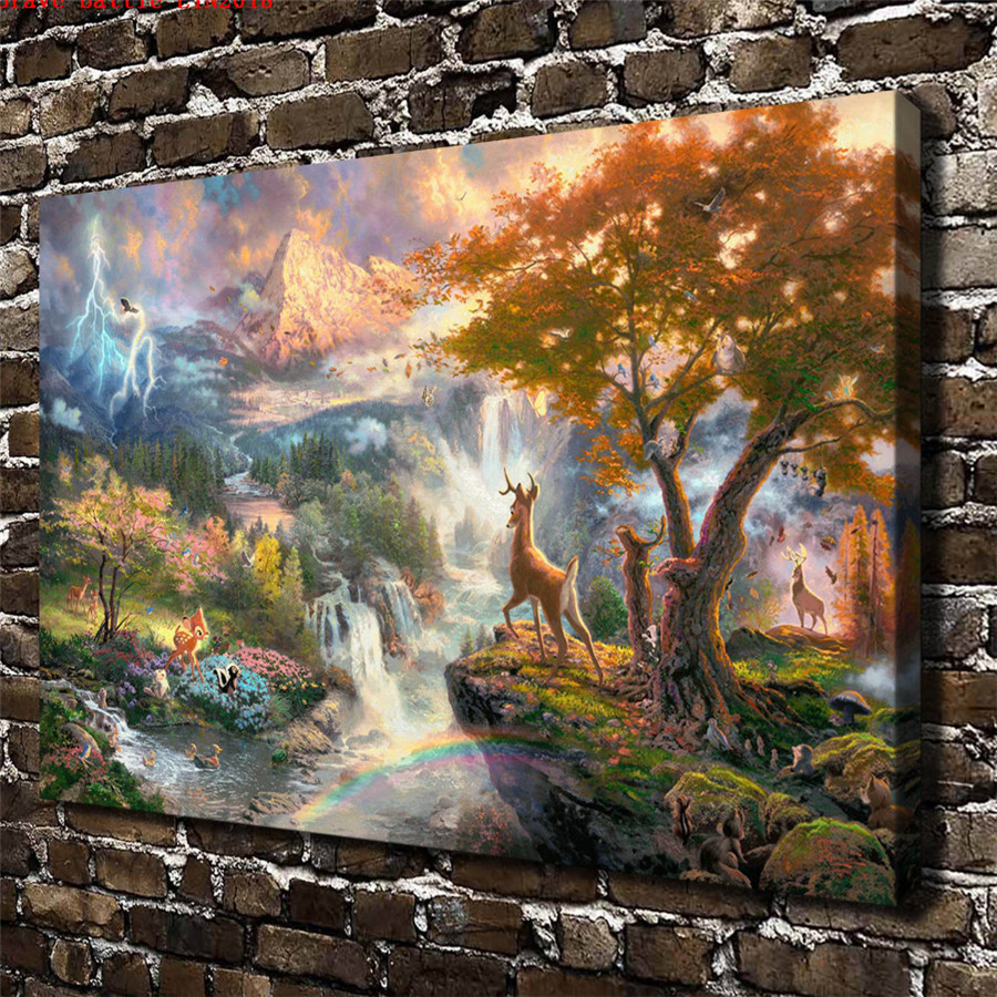 Thomas kinkade bambi first year canvas painting print - Home interiors thomas kinkade prints ...
