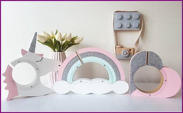 Decoratie Slaapkamer Maken : Nieuwe natuurlijke hand maken houten regenboog wolken eenhoorn