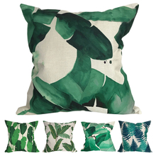 CURCYA Tropical Plants Green Leaf Leaves Cushion Covers Home Decorative Beige Linen Throw Pillow Covers Cases цены