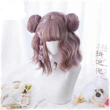 New Harajuku Kawaii Lolita Daily Gothic Short Curly Hair Cosplay Costume Wig For Women\'s Halloween Party With Buns+ Wig Cap - DISCOUNT ITEM  25% OFF All Category