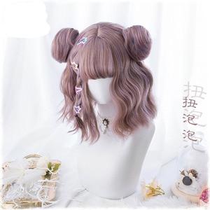 Женский парик для косплея Harajuku Kawaii Lolita ежедневные готические короткие вьющиеся волосы парик для женской Вечеринки На Хэллоуин с булочками ...