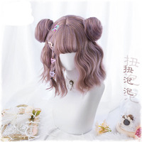 New Harajuku Kawaii Lolita Daily Gothic Short Curly Hair Cosplay Costume Wig For Women's Halloween Party With Buns+ Wig Cap