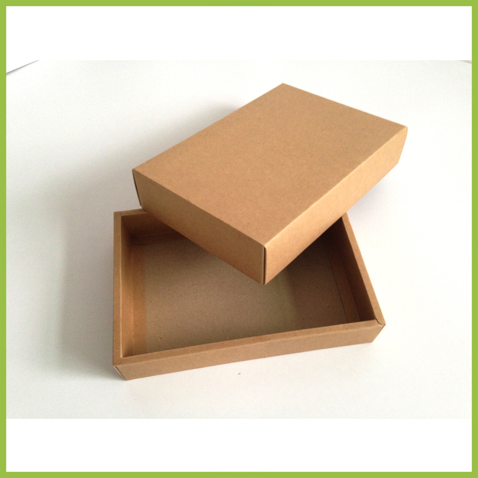 Retail 10Pcs/Lot 23.3*15.2+3cm Craft Paper Cardboard Package Box With Lid Brown DIY Gift Card Postcard Kraft Paper Packing Boxes