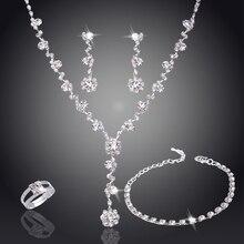 Серебряный тон Кристалл теннис африканские Ювелирные наборы серьги Свадебные ювелирные изделия ожерелье набор украшений для подружек невесты для женщин ожерелье