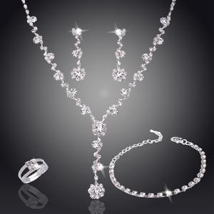 Earring Necklace Jewelry-Set Crystal Bridesmaid Silver-Color Tennis-African Tone Wedding