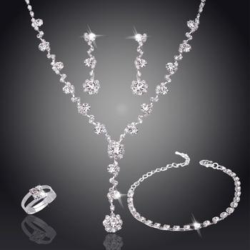 Conjunto de joyería africana de tenis de cristal en tono plateado, pendientes, joyería y Collar para boda, dama de honor, juegos de joyas para mujer, collar 1