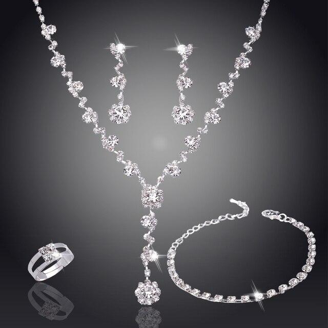 0ef96aa0fece Juego de joyas africanas de tenis de cristal de tono plateado pendientes de  joyería de boda collar de dama de honor conjuntos de joyas para mujer ...