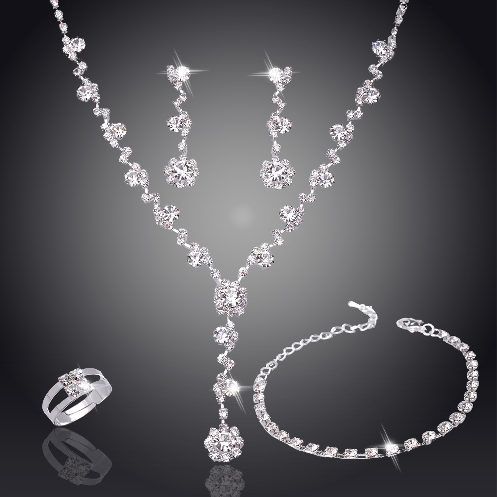 Silver Tone Crystal Tennis african jewelry set Earrings