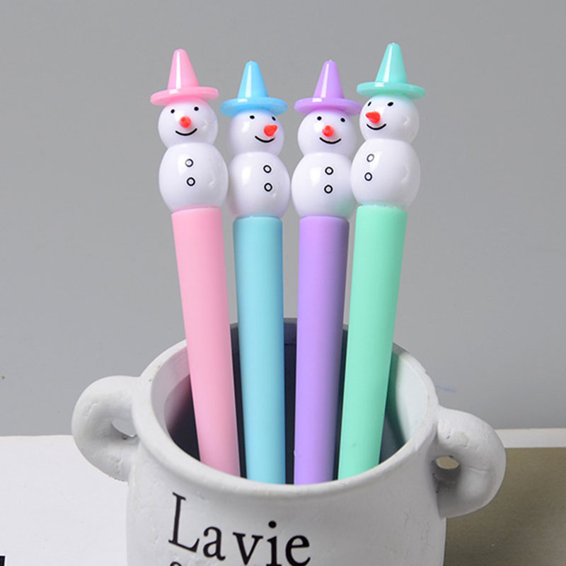 Cute 4 Pc Snowman Shape Gel Pen Table Decorations School Office Stationery Kid Children Gel Pens Creative Prize Gifts ...