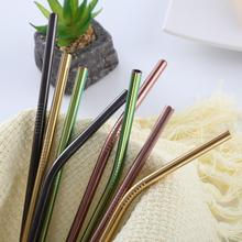 1PC Long Multicolour stainless steel straw Drinking For 20 Oz/30 Oz Cups airlock metal straw paille inox reusable straw mate