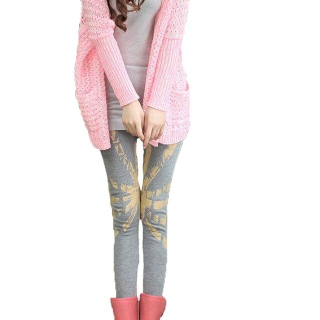 Women Leggings 2016 Winter Warm Printed Legging Pants Work Out Black Casual Sexy Fitness Leggins Pants Plus Size Trousers
