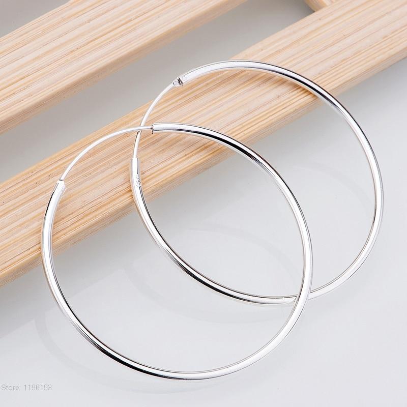 Women 925 solid silver plated Hoop Earring 50mm Round Circle Loop Gifts Box Packing Simple Silver Hoop Earring Brincos de Prata