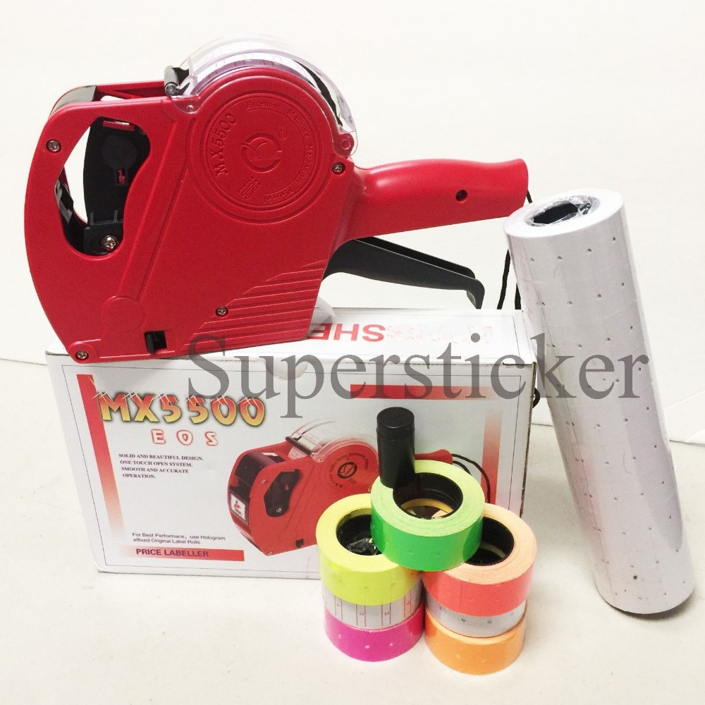 Fly Eagle MX 5500 EOS 8 Digits Price Tag Gun Labeler 5000 White Blank labels 1 Ink in Tag Guns from Home Garden