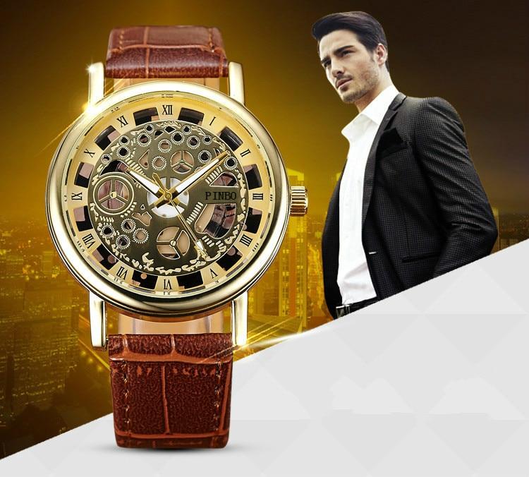 2019 New Brand Luxury Fashion Casual Leather Men Skeleton Watch Women Dress Wristwatch Steel Quartz Hollow Watches Men PINBO-85