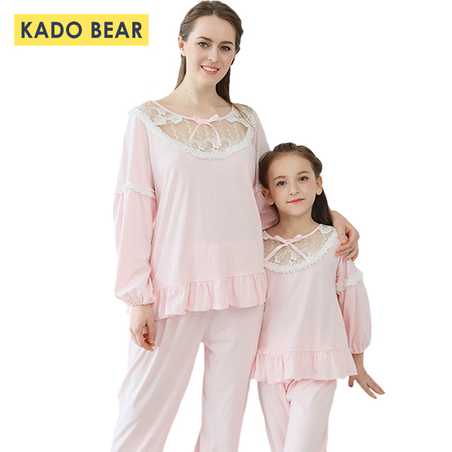 ac6b4fe81d Baby Girls Pink Sleepwear Family Look Mother Daughter Pajamas Matching  Princess Dressing Gown Outfits Mommy Kids Pyjamas Clothes