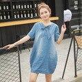 2016 novo vestidos de maternidade de verão de algodão denim vestidos das mulheres vestidos de gravidez maternidade roupas sumemr roupas 16461