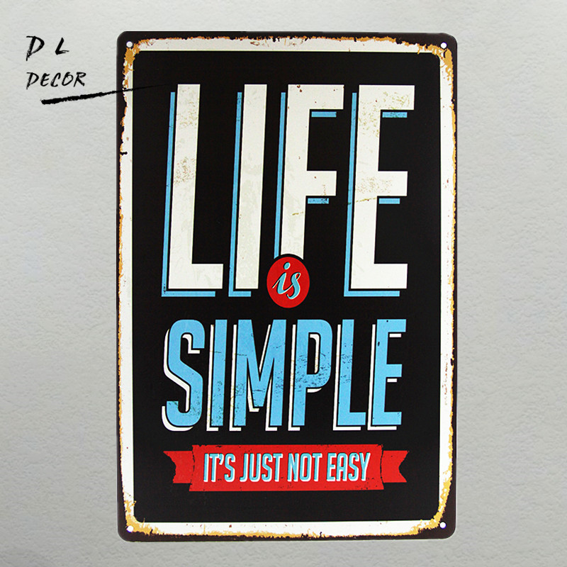 DL-Vintage home decor TIN SIGN life is SimpleArcade Shop Game Room Art Plaque