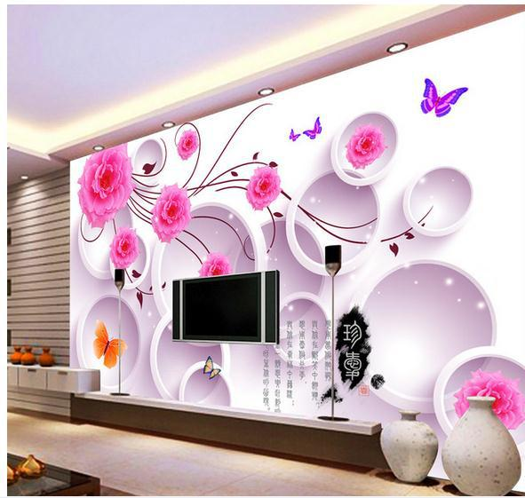 фото 3д обои цветы на стены