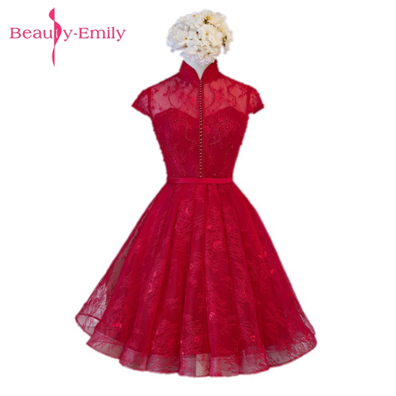 Beauty-Emily Luxury Burgundy Lace Prom dresses 2017 Sexy Boat-Neck Pearls Lace-Up Beading Evening Party Gowns Graduation Dress