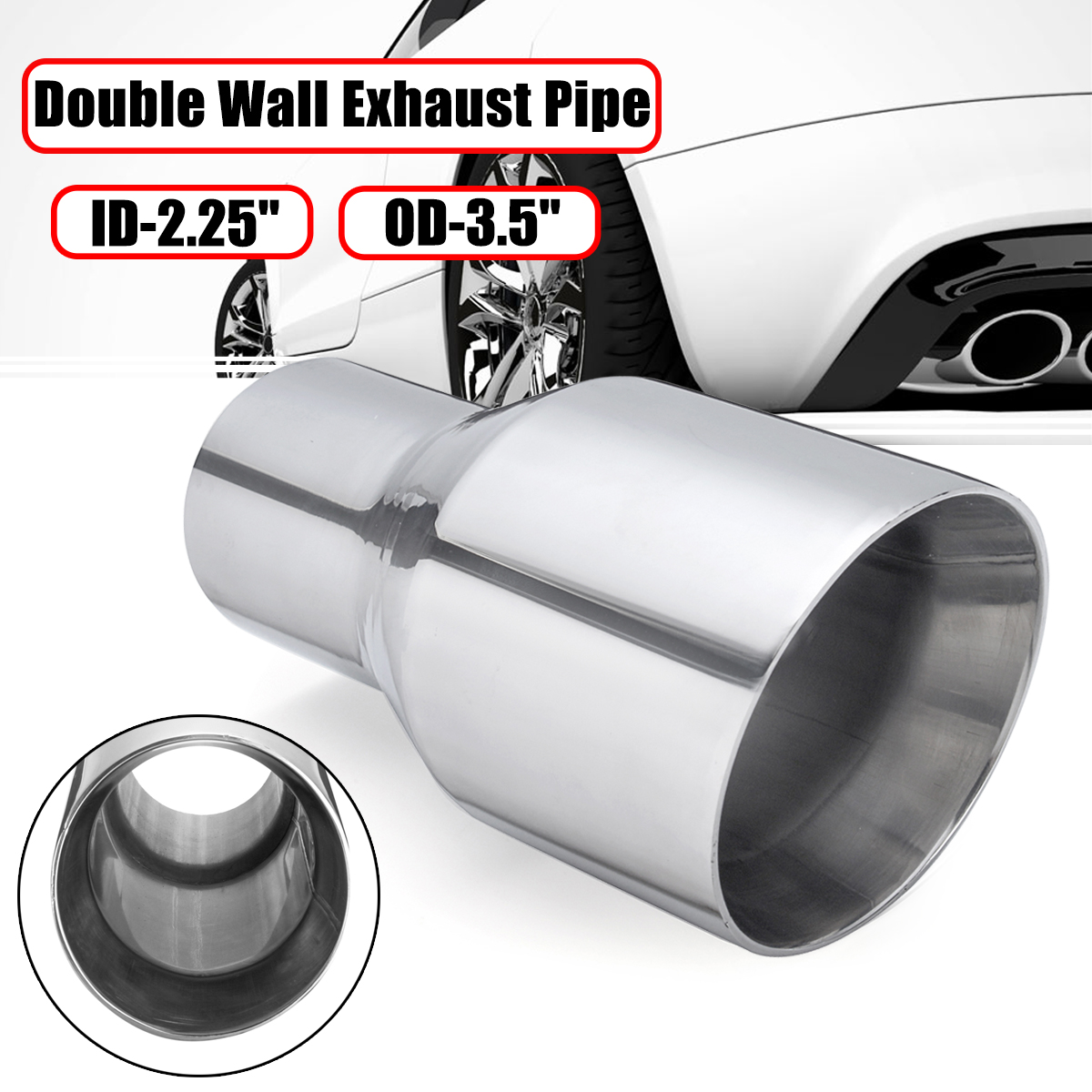 """2PC 2.25/"""" Inlet Quad 3.5/"""" Out 9/"""" Long Dual Wall 304 Stainless Steel Exhaust Tips"""