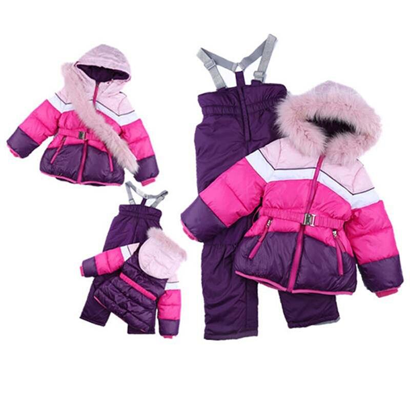 Prix pour Filles 'ski Et Snowboard Filles Coton Costumes Col De Fourrure Femmes Ski Hiver Veste Vêtements de Neige Snowboard Ski