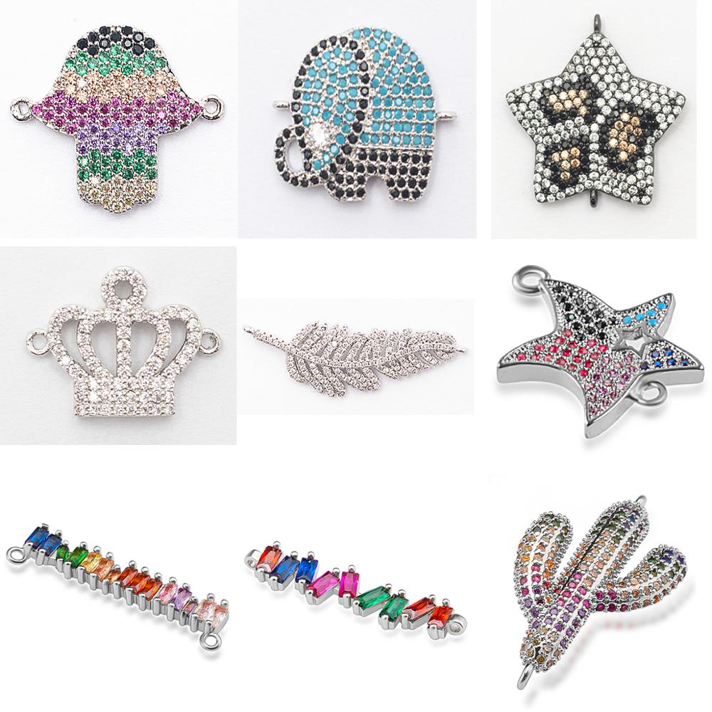 Complete Animal Charms Bracelet Jewelry Connector Accessories For Diy Bracelet Making Copper Zircon Micro Pave Cz Wholesale