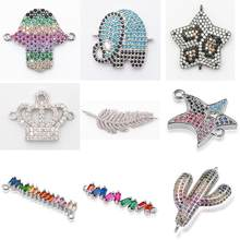 Complete animal charms bracelet jewelry connector accessories for diy bracelet making copper zircon micro pave cz wholesale(China)