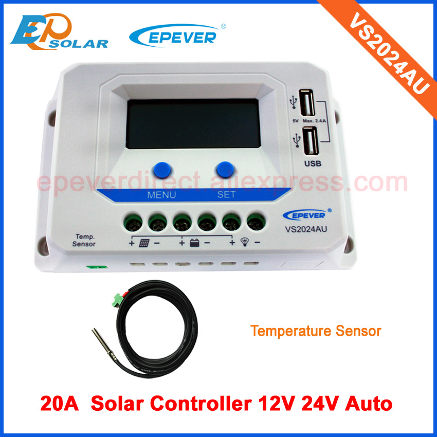 controllers with temperature sensor free shipping PWM mini solar regulator VS2024AU 20A20amp 12v 24v auto workcontrollers with temperature sensor free shipping PWM mini solar regulator VS2024AU 20A20amp 12v 24v auto work