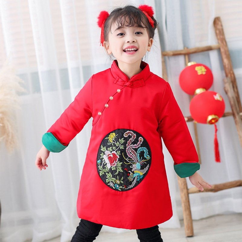Chinese style children's clothing lace fine embroidery new year red dress 2018 spring Girl long-sleeved cheongsam dress toddler girl dresses chinese new year lace embroidery flowers long sleeve baby girl clothes a line red dress for party spring