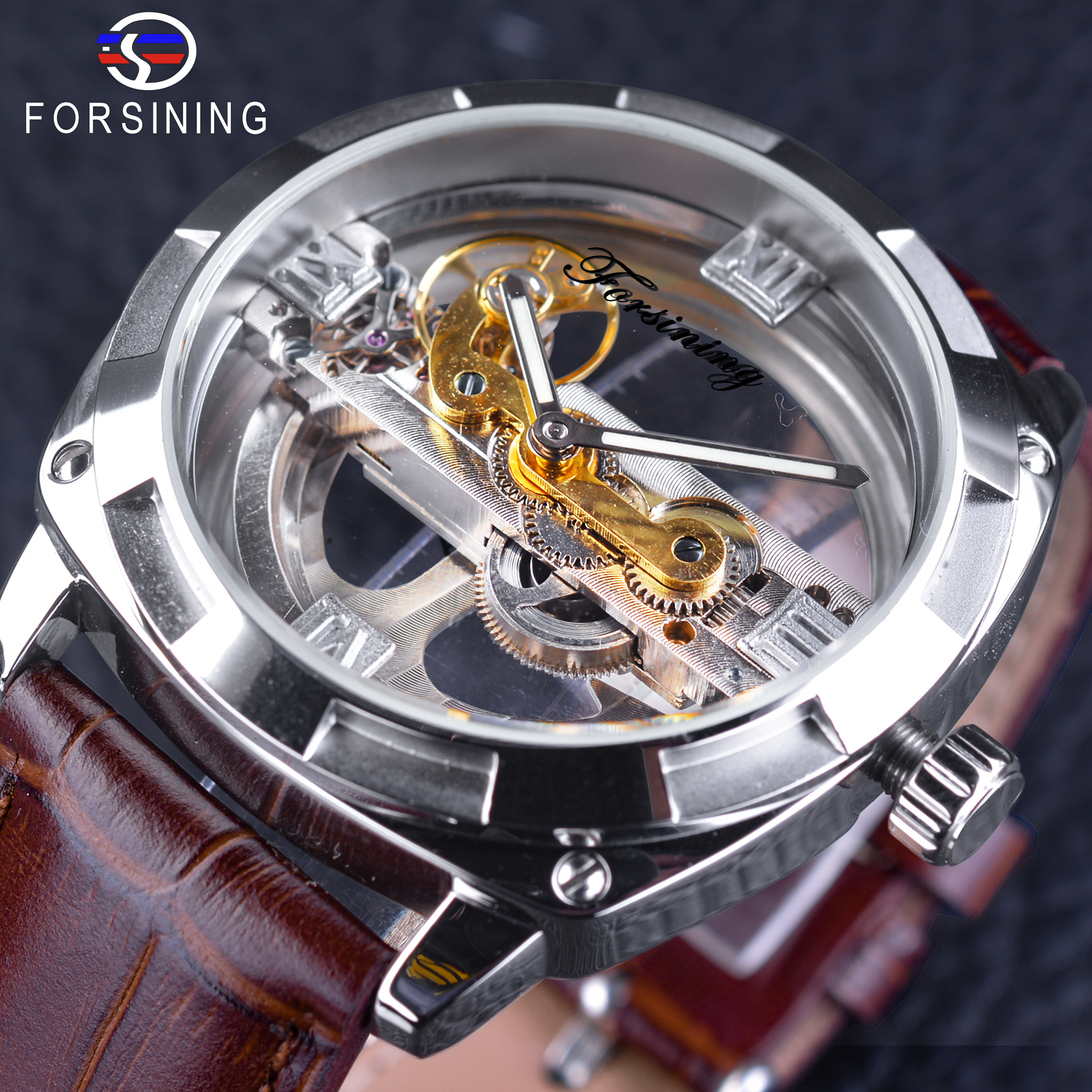 Forsining Men's Watch Skeleton Silver Transparent-Design Only-Official-Limited Fashion title=