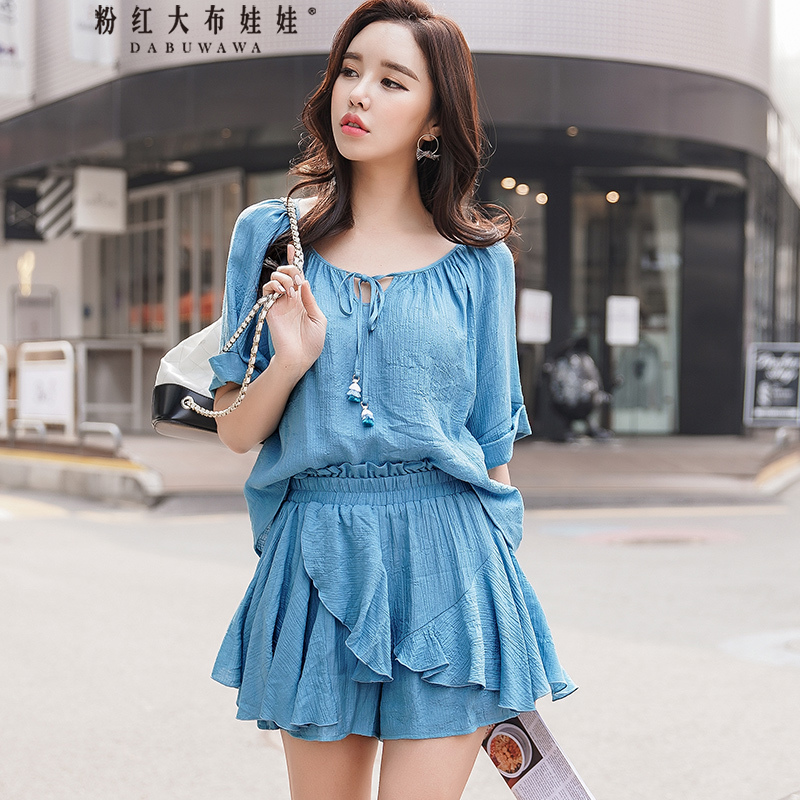Dabuwawa 2018 Summer Women S Sets Blue Holiday Beach 2pieces Lace Up Blouse And Mini Ruched Skirt