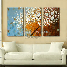 Hand Painted Wall Art Canva Picture 3 Piece Modern Abstract Home Decor Living Room Set art Palette Knife White Tree Oil Painting