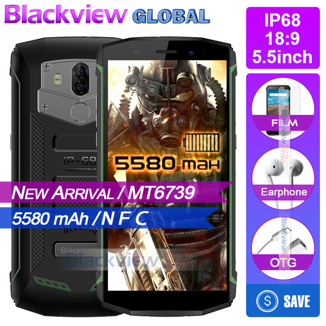 Blackview Bv5800 New arrival IP68 5580 mAh big battery 4G 18:9 Smartphone MT6739 2GB RAM 16GB ROM 13MP NFC Touch ID Mobile phone