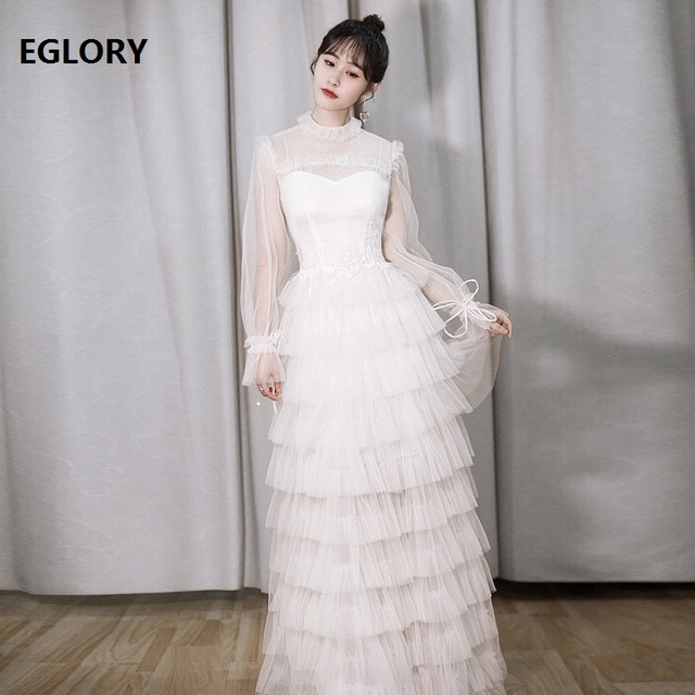 Princess Women Long Dress 2019 Spring Summer Party Wedding Bridal Dresses  Ladies Tulle Mesh Lace Maxi 1058594c9ac8