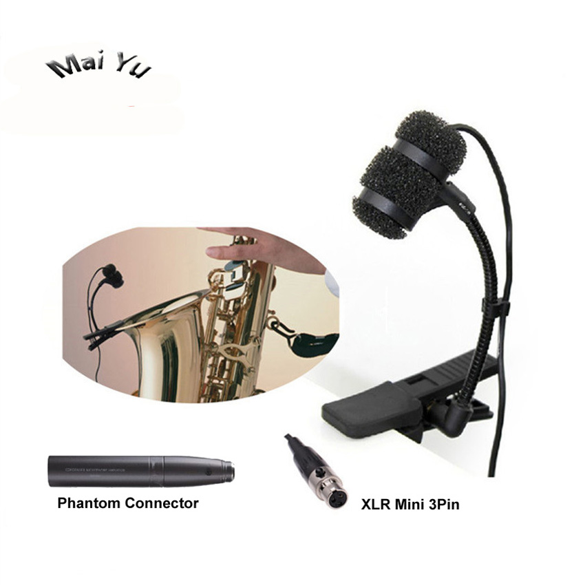 Professional Instrument Saxophone Microphone Condenser Music Microfone for AKG Samson Wireless System XLR 3pin Mini etc