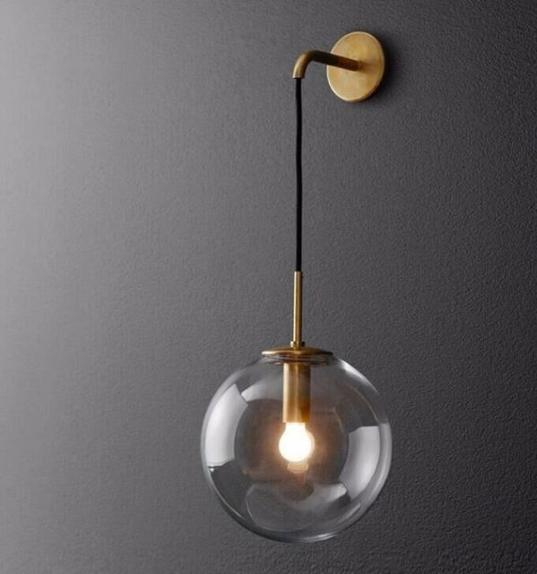 American vintage wall light glass ball simple brass sconces light fishing round ball iron industrial wall lamp