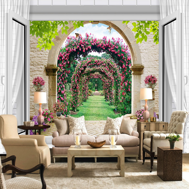 Custom Photo Wall Paper European Style Pastoral Flowers Murals Living Room Cafe Restaurant Backdrop Wall Home Decor 3D Wallpaper