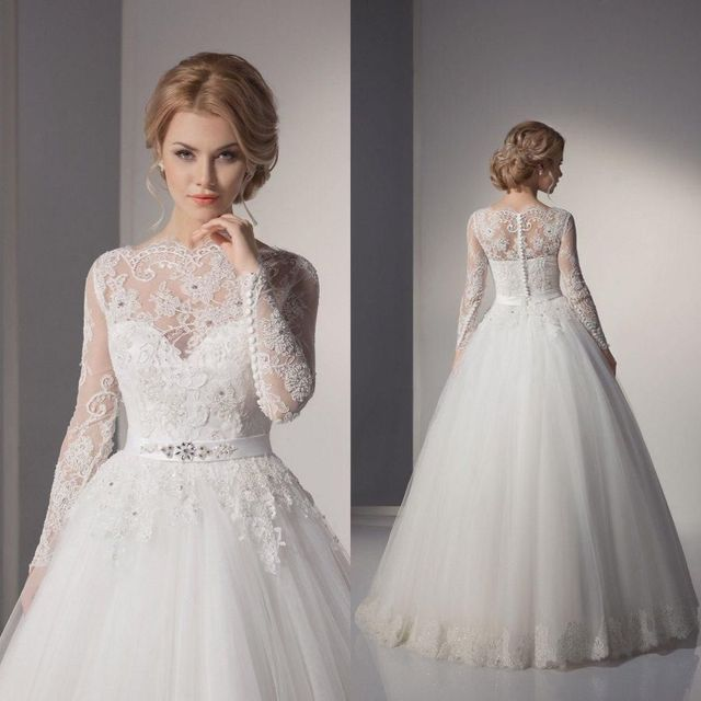 Long Sleeve Wedding Dresses Purple And White Simple Lace Princess ...