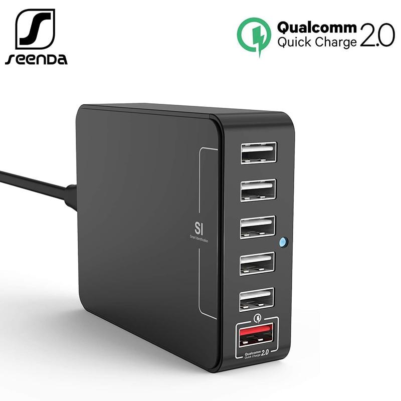 SeenDa QC2.0 быстрый USB Зарядное устройство 35 Вт 6-Порты зарядка через usb станция для быстрой зарядки USB для телефона Зарядное устройство для iPhone ...