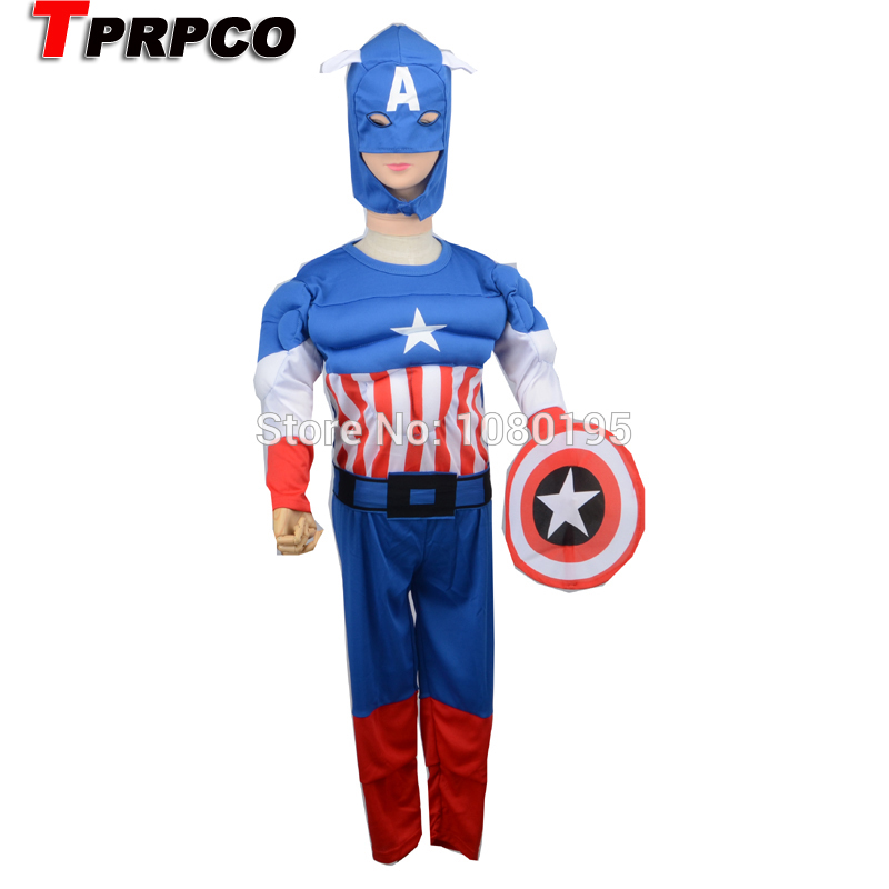 TPRPCO  Captain America Muscle Costume,Boy Halloween Party Cosplay, Children Role-Playing Custume Rated 0.0 /5 based  N128